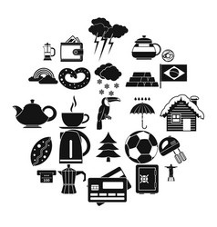 Coffee morning icons set simple style vector