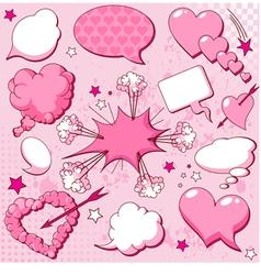comics style valentine speech bubbles vector image