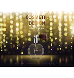 Cosmetic background with round bottle with vector