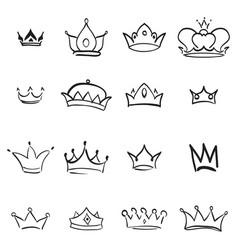 Crown logo hand drawn graffiti sketch and signs vector