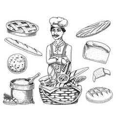 Culinary boss chef cooker baker in apron bag vector
