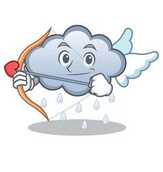 cupid rain cloud character cartoon vector image