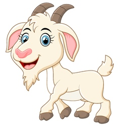 Cute goat cartoon vector image