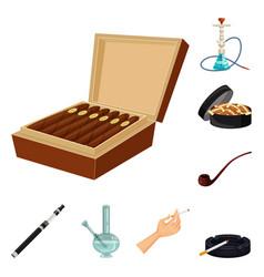 Design cigarette and tobacco symbol set vector