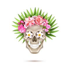 Dia de los muertos day of dead skull flower vector