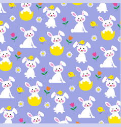 Easter bunny and chick pattern on purple vector