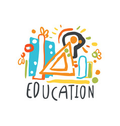 Education day label concept with educational vector