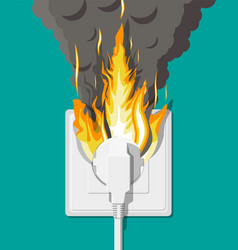 Electrical outlet on fire overload network vector