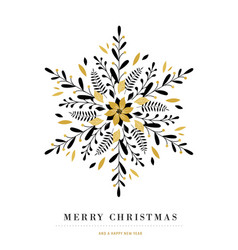 elegant snowflake poster winter icon merry vector image