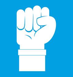 Fist icon white vector