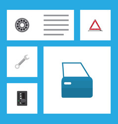 flat workshop set of automobile part warning vector image