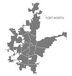 Fort worth texas city map neighborhoods grey vector
