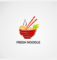 Fresh noodle logo icon element and template vector