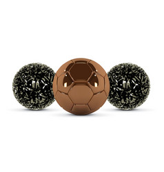 gold soccer ball and abstract metal ball on white vector image