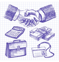 Hand drawn business set vector image