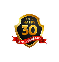 happy 30 anniversary golden shield badge logo vector image