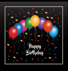happy birthday invitation poster multicolored vector image
