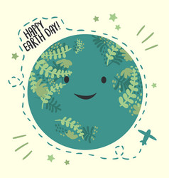 happy planet earth dayapril 22 cardsmiling globe vector image