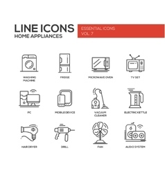 Home Appliances - simple line design icons set vector