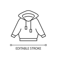 Home outfit with hoodie linear icon vector