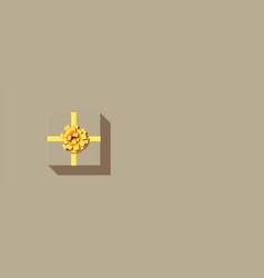icon gift box present with golden bow and vector image