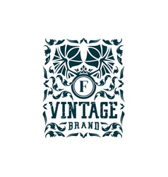 Letter f vintage logo design vector
