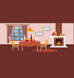 living or dining room with fireplace vector image