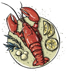 Lobster on a dish vector