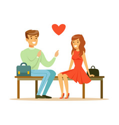 Loving couple sitting on a park bench colorful vector