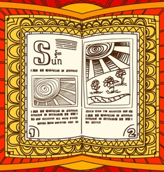 Magic book with the spell of sun vector