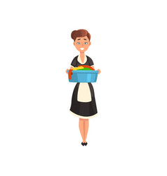 Maid holding a basin with wet clean linen vector