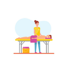 Massage therapy woman masseuse and man vector