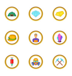 Miner icons set cartoon style vector