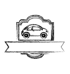 monochrome sketch of sport car in heraldic frame vector image
