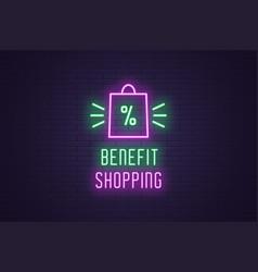 Neon composition headline benefit shopping sale vector