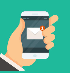 new incoming message on smartphone - email vector image