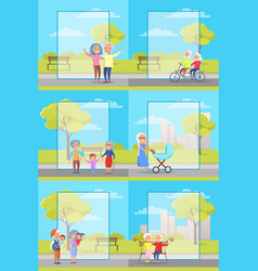 Older people outside collection vector