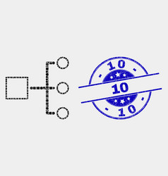 pixel hierarchy icon and grunge 10 seal vector image