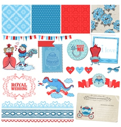 Princess and Prince Wedding Vintage Set vector