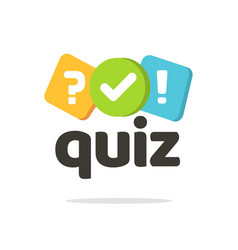 Quiz logo icon symbol flat cartoon bubble vector