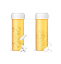 realistic detailed 3d orange pills bottle and vector image