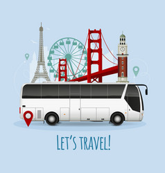 Realistic touristic bus vector