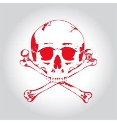 Red skull and crossbones vector