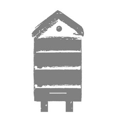 retro wooden bee hive icon stamp for honey vector image