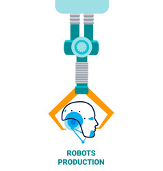 Robots production flat poster template vector