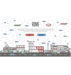roman skyline with national famous landmarks vector image