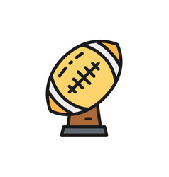 rugby ball trophy american football cup flat vector image