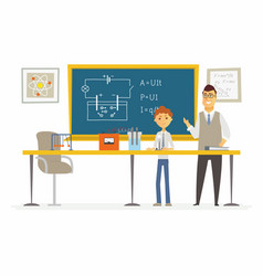 Science lesson at school - modern cartoon people vector