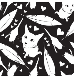 Seamless pattern with cats flowers and hearts vector