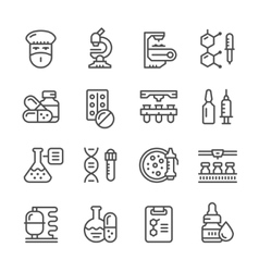 Set line icons of pharmaceutical industry vector image